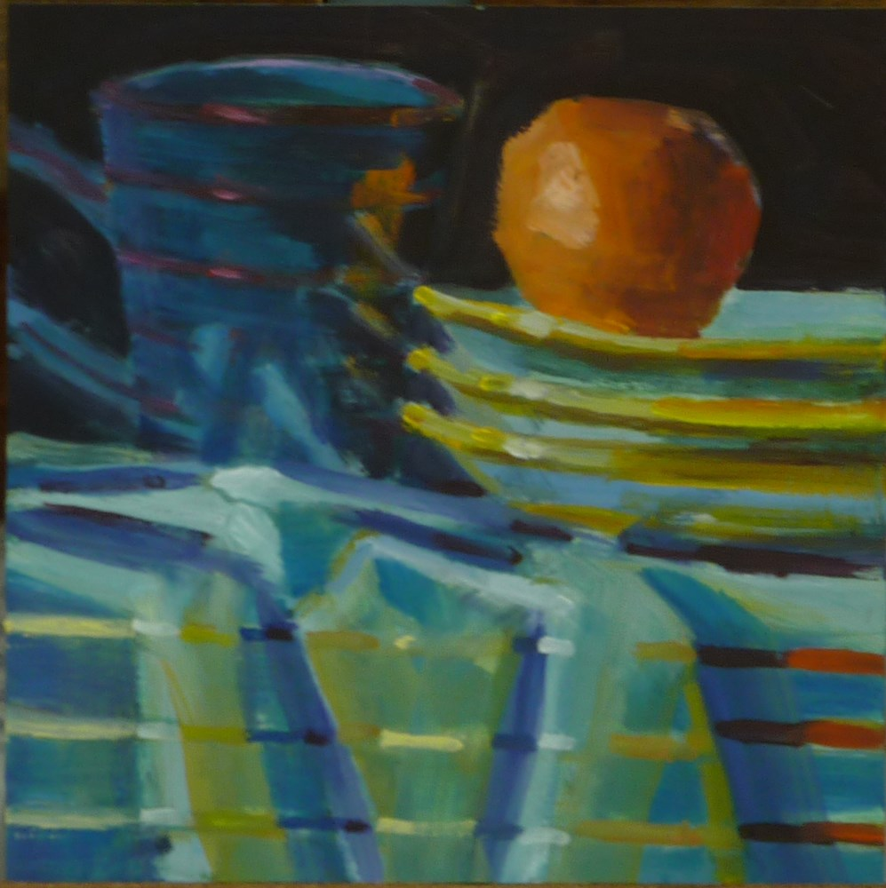 """Stripes with Orange"" original fine art by Mary Pyche"