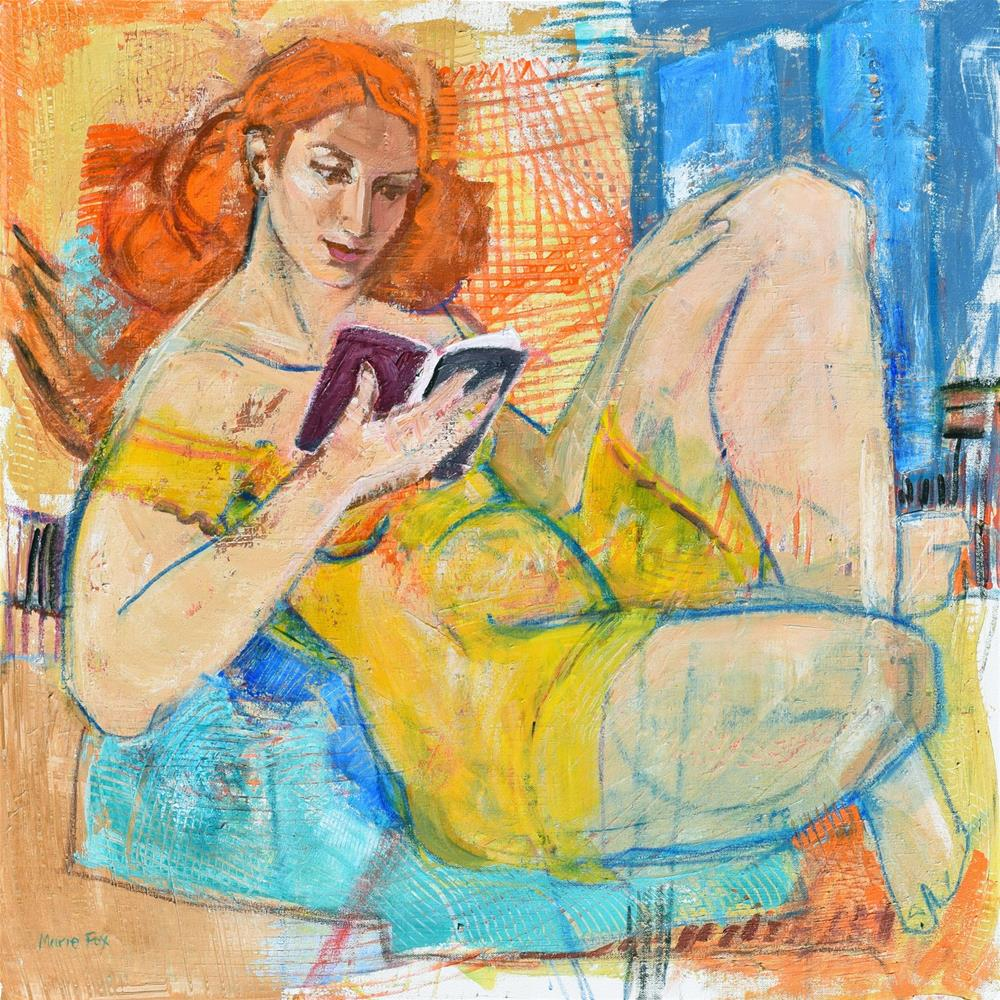 """Just A Few More Pages, woman reading, contemporary figurative painting, figure study, female figurat"" original fine art by Marie Fox"