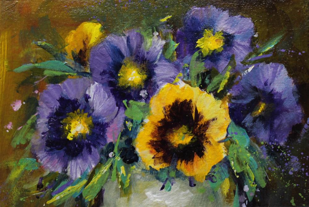 """Original acrylic pansy floral flower still life painting"" original fine art by Alice Harpel"