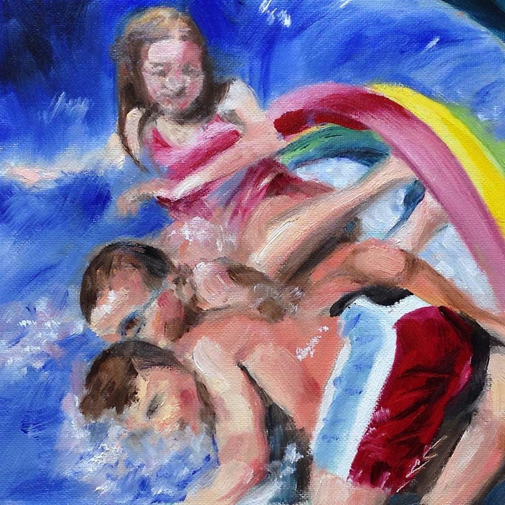 """At the Bottom of the Waterslide"" original fine art by Linda Lowery"