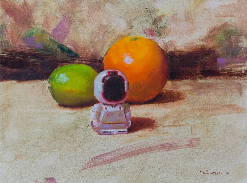 """A Robot and its fruit"" original fine art by Thorgrimur Andri Einarsson"