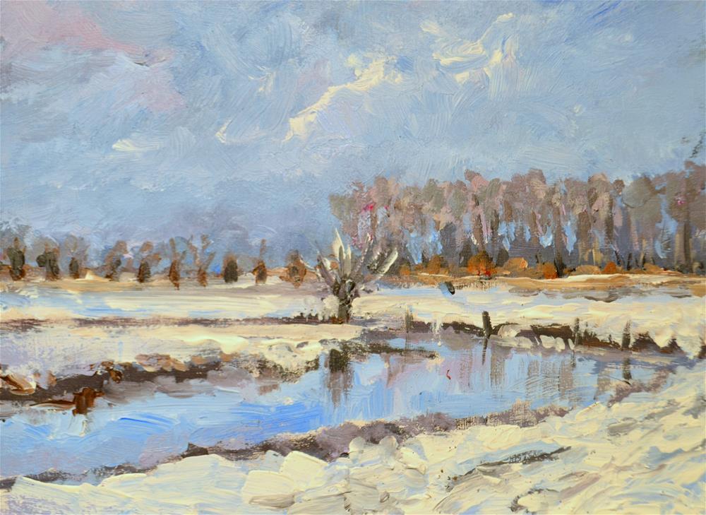 """Winterscapes till Christmas 3"" original fine art by Wim Van De Wege"