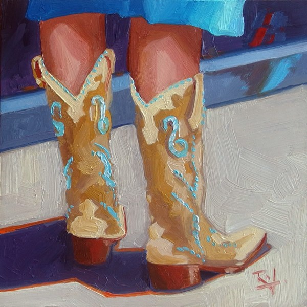 """""""No 735 The Boots Have it"""" original fine art by Robin J Mitchell"""