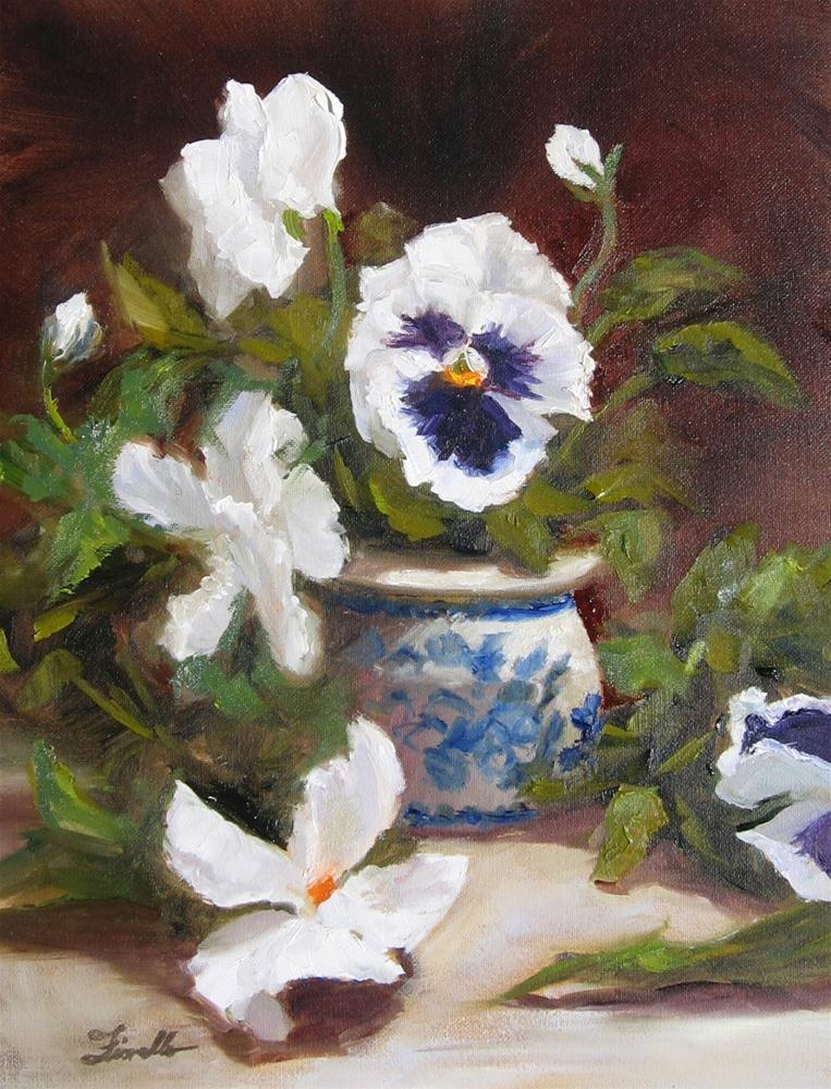 """White Pansies"" original fine art by Pat Fiorello"
