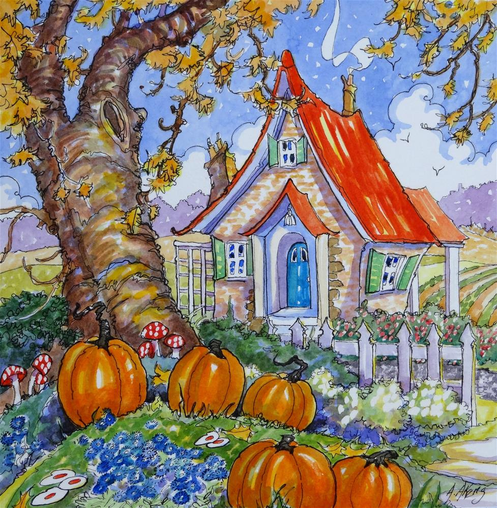 """Signs of the Season Storybook Cottage Series"" original fine art by Alida Akers"