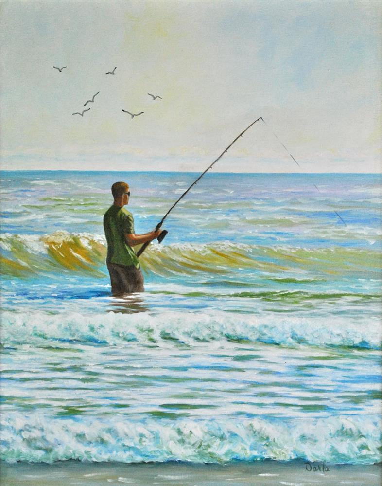 """Surf Fishing on The Islands"" original fine art by Darla Brock"
