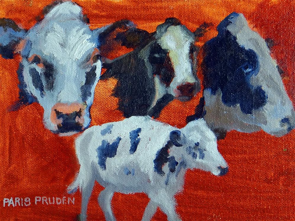 """""""Cute Irish Cows"""" original fine art by Nancy Paris Pruden"""
