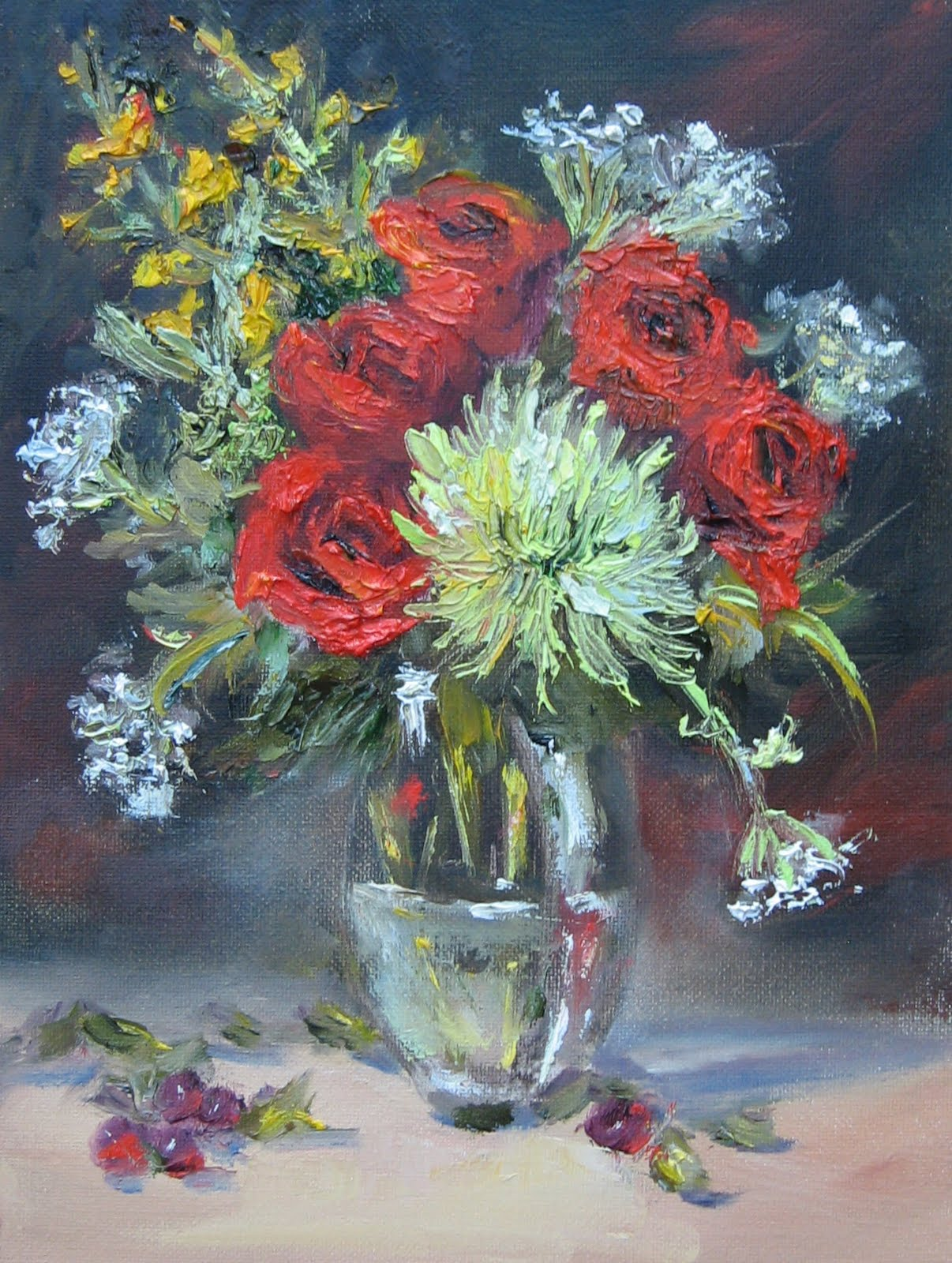 """Flower Study #36  Roses & Spider Mum"" original fine art by Pat Fiorello"