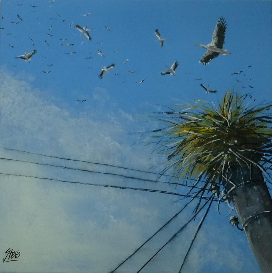 """Excitement in the Village"" original fine art by Martin Stephenson"