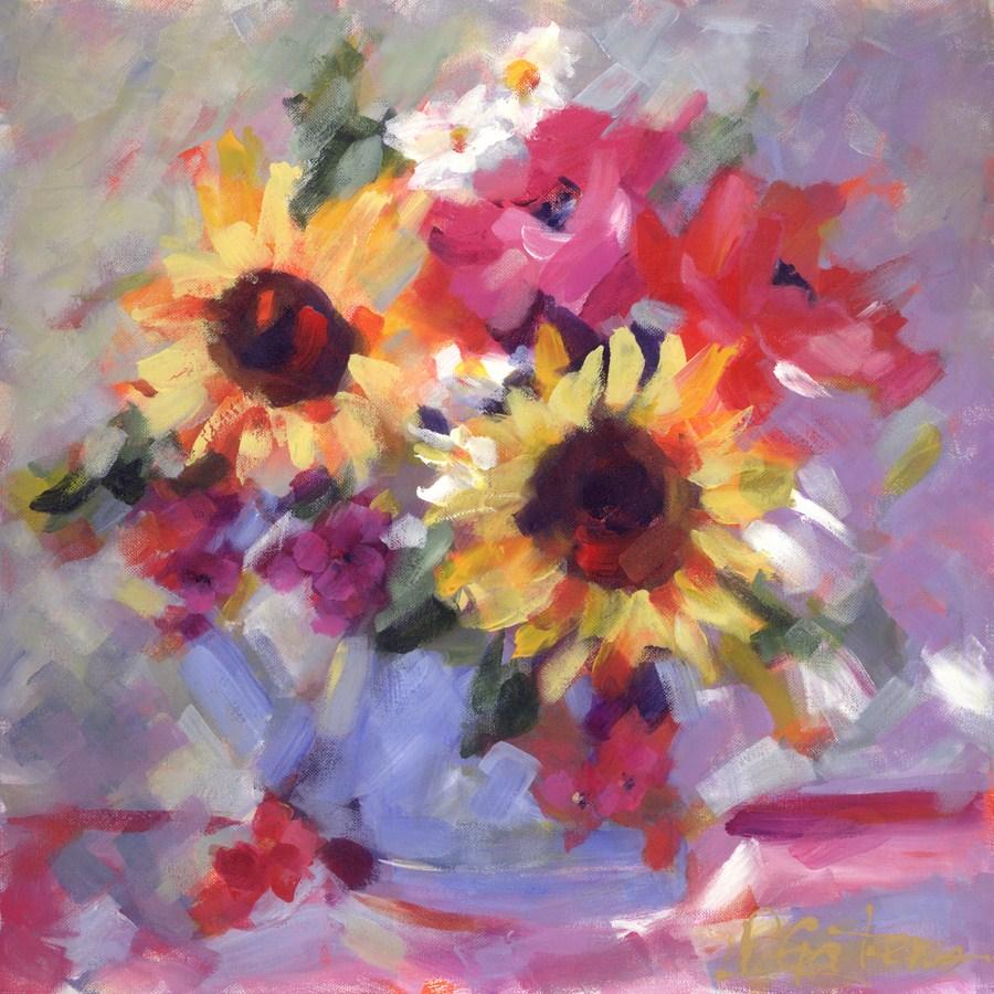 """Sunflowers in Blue"" original fine art by Pamela Gatens"