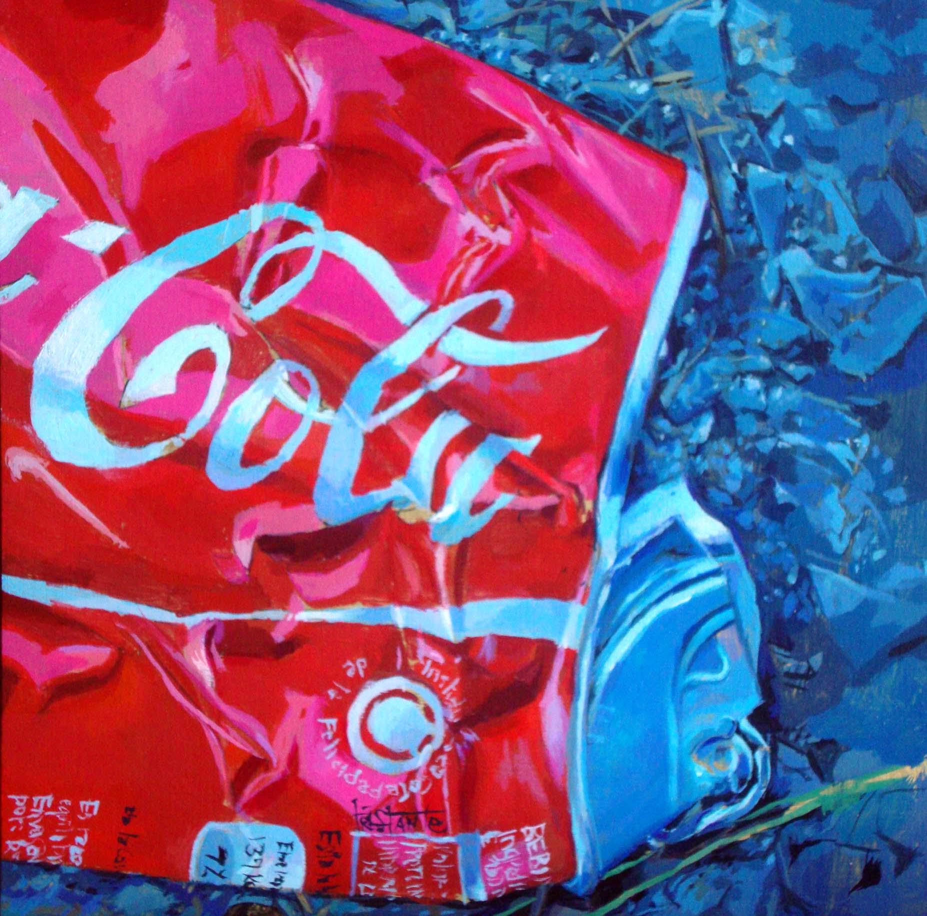 """Crushed-Cola"" original fine art by Víctor Tristante"