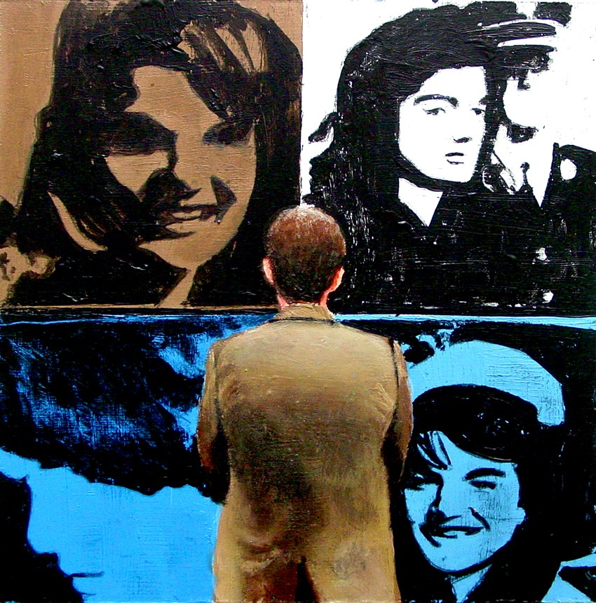 """First Lady- Painting Of Man Enjoying Painting Of Jackie Kennedy By Andy Warhol"" original fine art by Gerard Boersma"