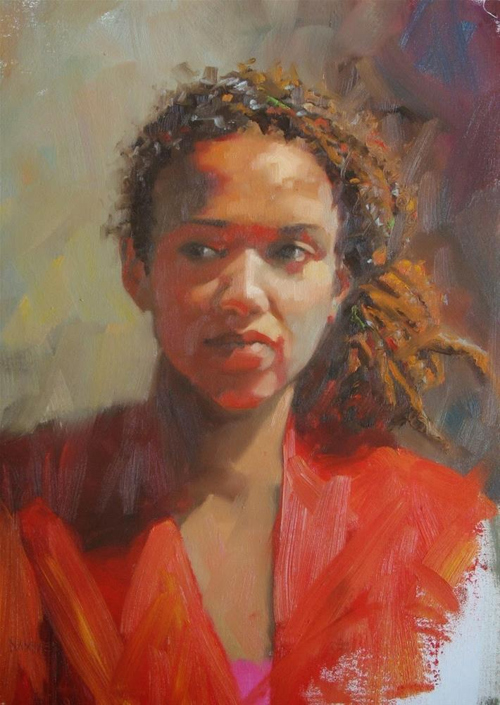 """Liz in red 11x14 oil"" original fine art by Claudia Hammer"