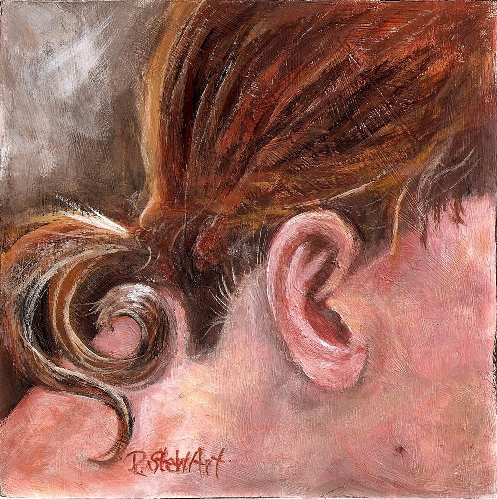 """6x6 Ponytail Girl Redhead Face Close Up Acrylic on Wood Penny Lee StewArt"" original fine art by Penny Lee StewArt"