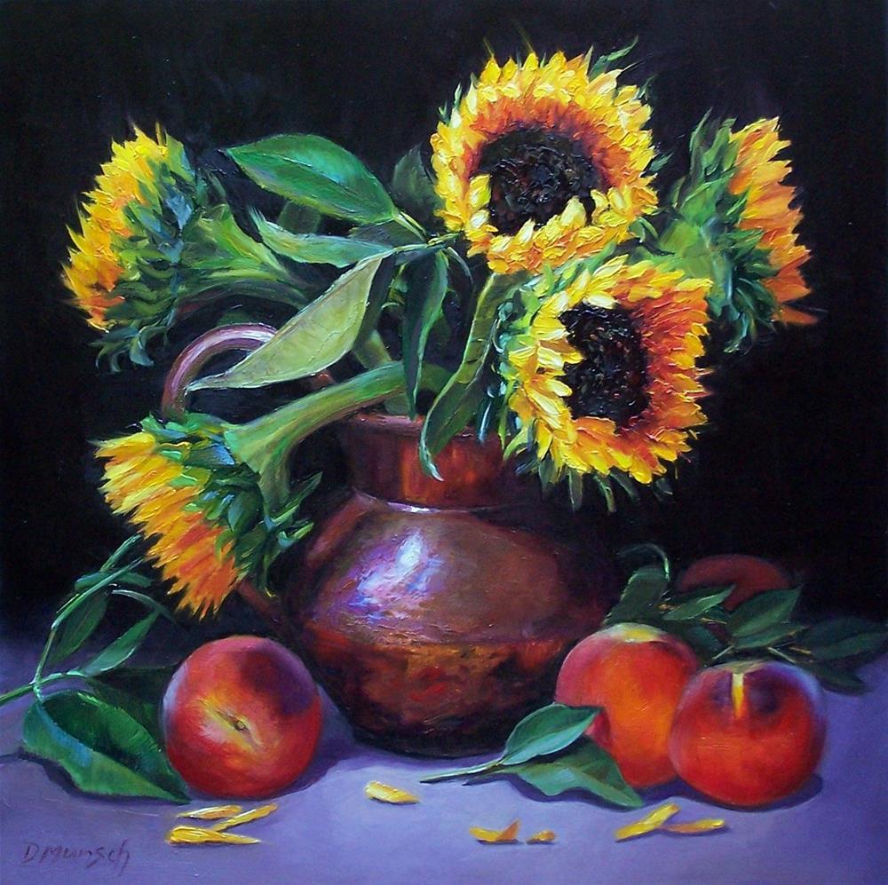 """Sunflowers and Peaches"" original fine art by Donna Munsch"