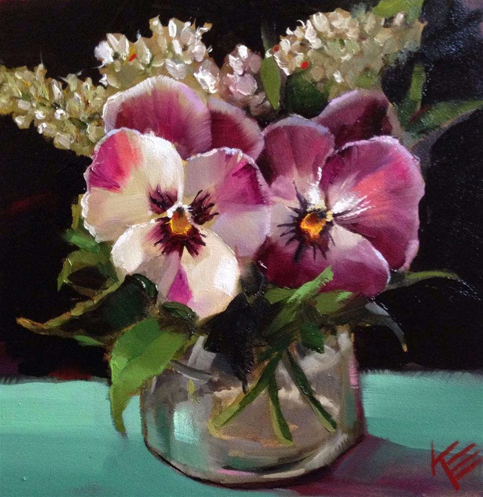 """Pansies in a jar"" original fine art by Krista Eaton"