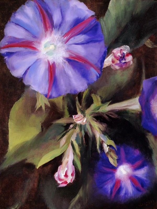 """Purple Morning Glories"" original fine art by Dalan Wells"
