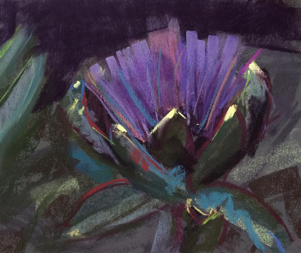 """Artichoke Bloom II"" original fine art by Cristine Kossow"