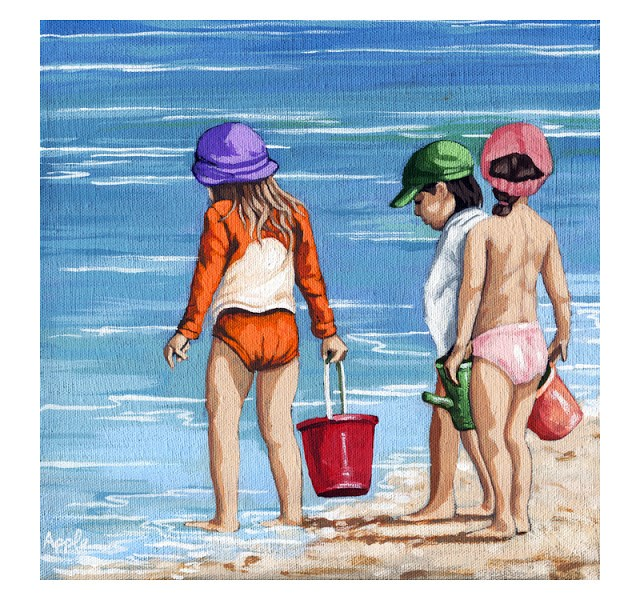 """Children on the beach figurative original painting by Linda Apple"" original fine art by Linda Apple"