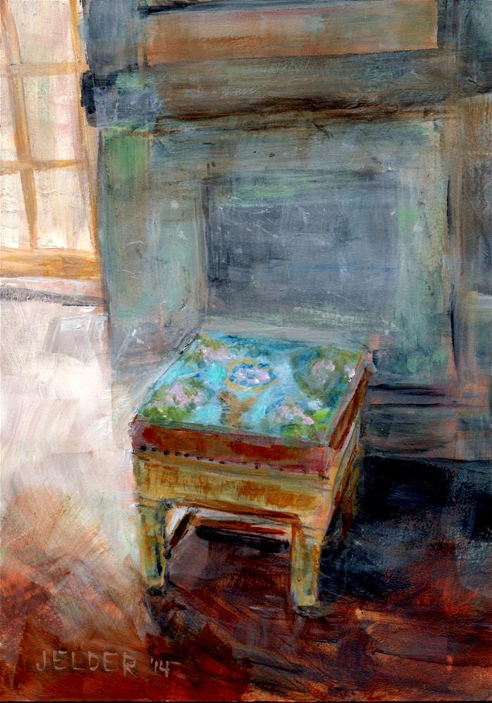 """Versaille No. 8 Footstool"" original fine art by Judith Elder"