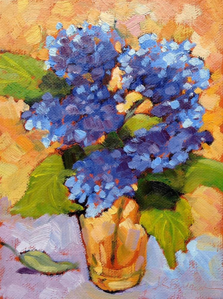 """Blue Hydrangea in Yellow Glass I"" original fine art by Jeanne Bruneau"