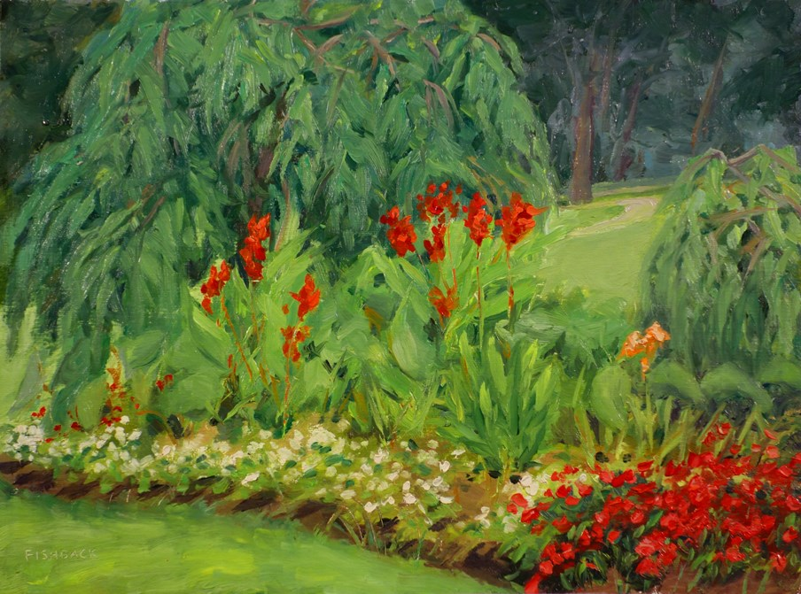 """Red White Green and Yellow, en plein aire"" original fine art by Daniel Fishback"