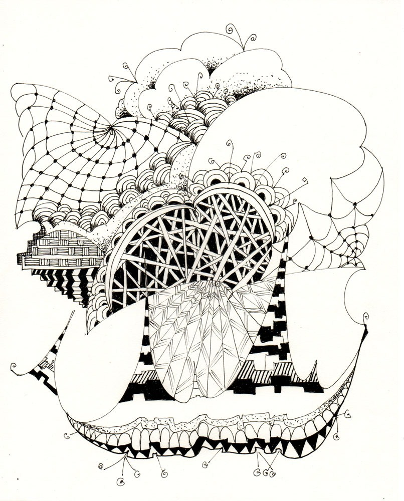 """Zentangle 2, 8x10 Abstract Pen and Ink"" original fine art by Carmen Beecher"