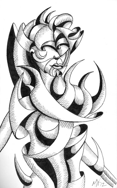 """Mark Webster - Abstract Geometric Futurist Figurative Ink Drawing"" original fine art by Mark Webster"