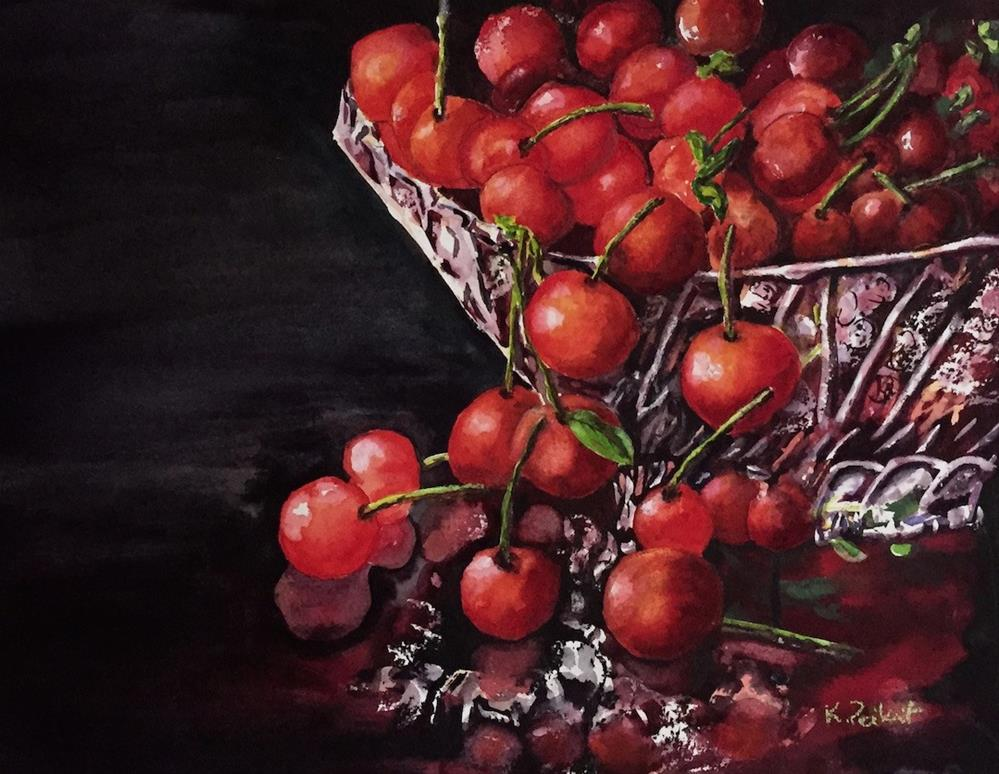 """Study in Cherries and Crystal"" original fine art by Karen Peikert"