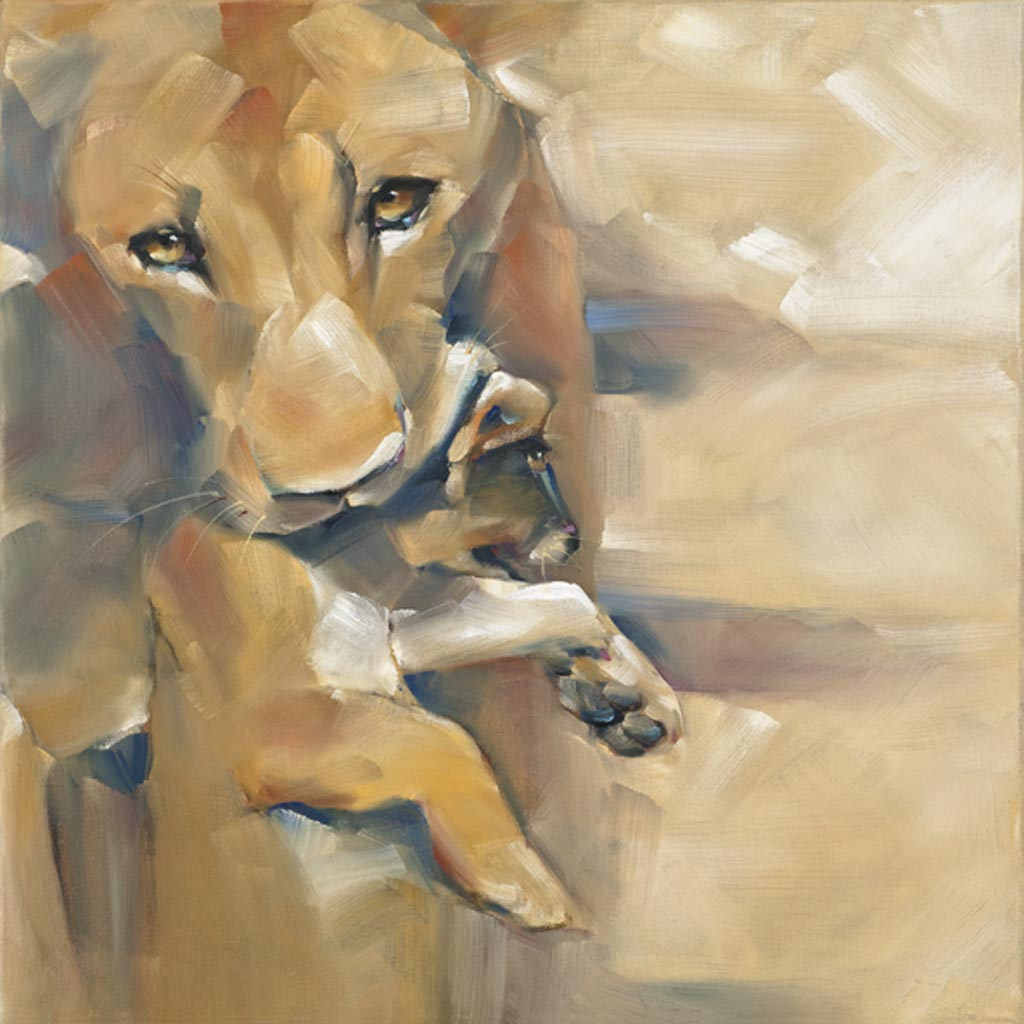 """Lioness with Cub"" original fine art by Cheryl Wilson"