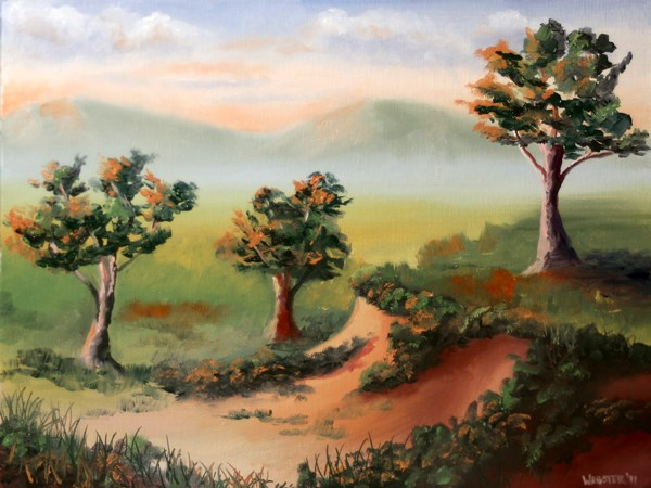 """Mark Adam Webster - Foothill Sunset Landscape Oil Painting"" original fine art by Mark Webster"