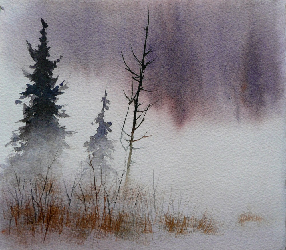 """Falling Snow (Thoughts of You Fall Quietly upon Me...)"" original fine art by Arena Shawn"