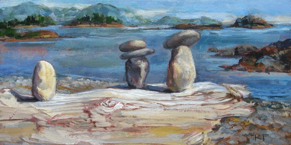 """Rocks on a Log"" original fine art by Robin Peterson"