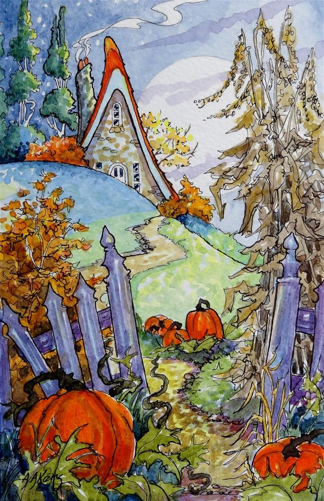 """Autumn Jewels Storybook Cottage Series"" original fine art by Alida Akers"