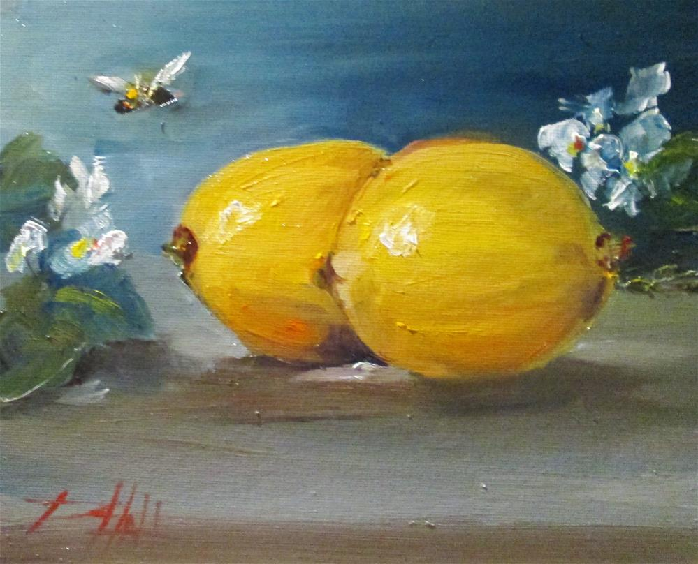 """""""Lemons and Bee"""" original fine art by Delilah Smith"""
