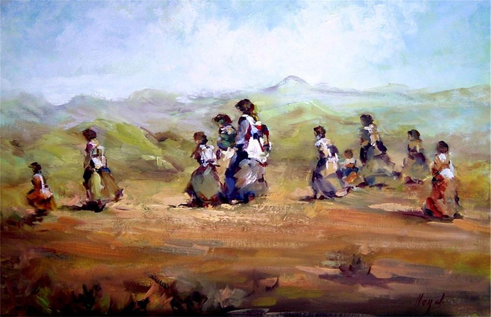 """Migration of the Chiricahua Apache"" original fine art by Diane Lloyd"
