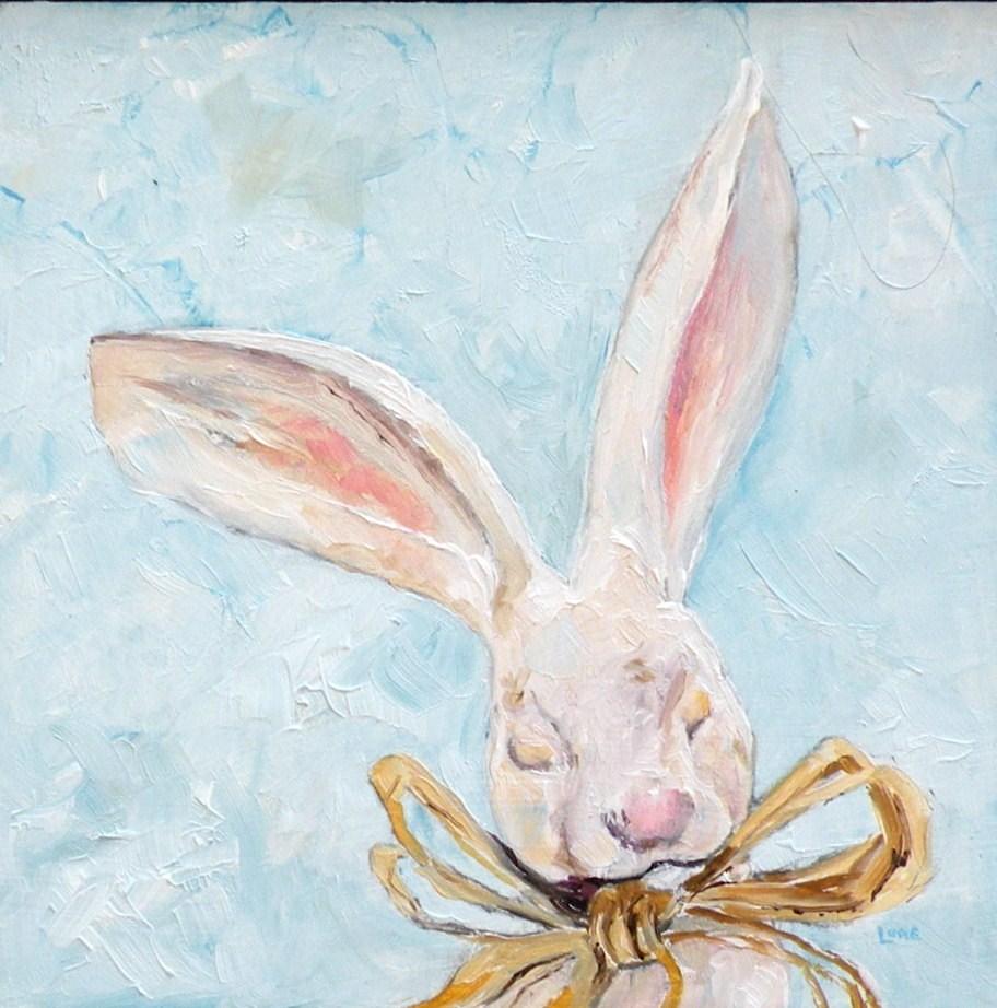 """VINTAGE BUNNY ORIGINAL 4X4 OIL MINI FOR MY ETSY SHOP © SAUNDRA LANE GALLOWAY"" original fine art by Saundra Lane Galloway"