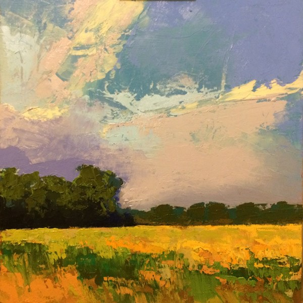 """Hayfield with Storm"" original fine art by Mary Gilkerson"
