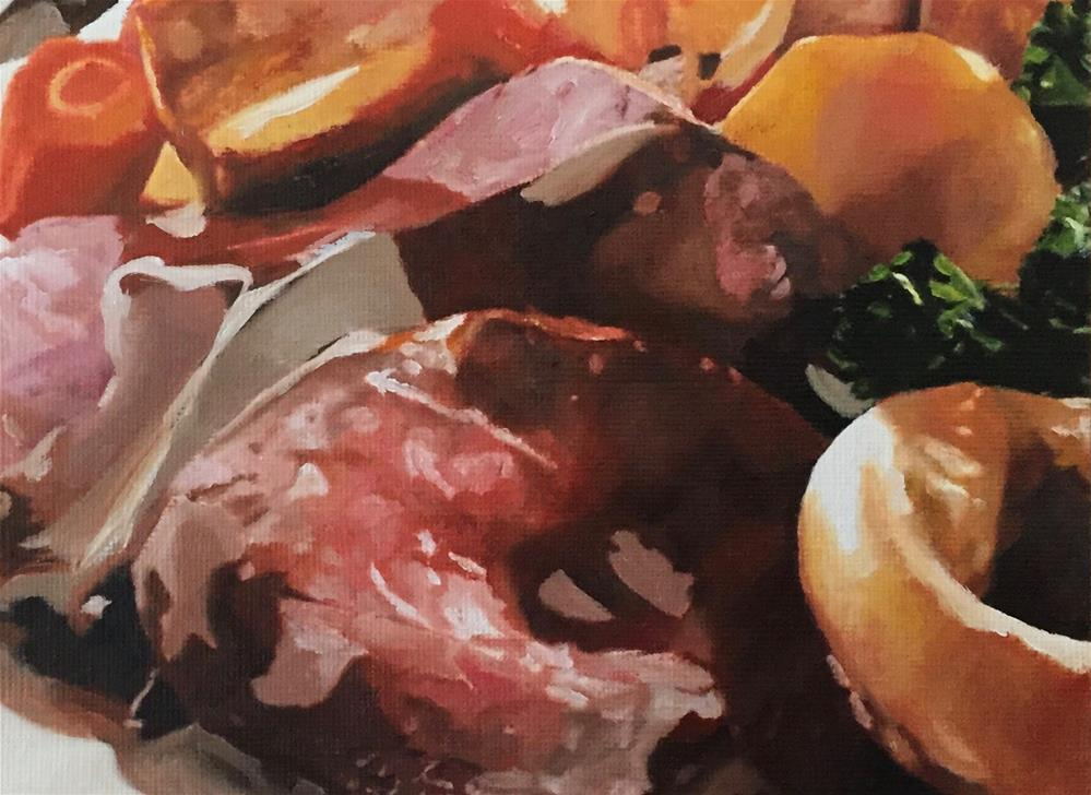 """Roast Beef Dinner"" original fine art by John Cameron"