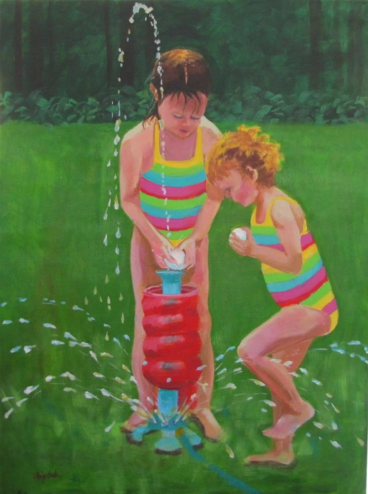 """Backyard Fun"" original fine art by Christine Holzschuh"