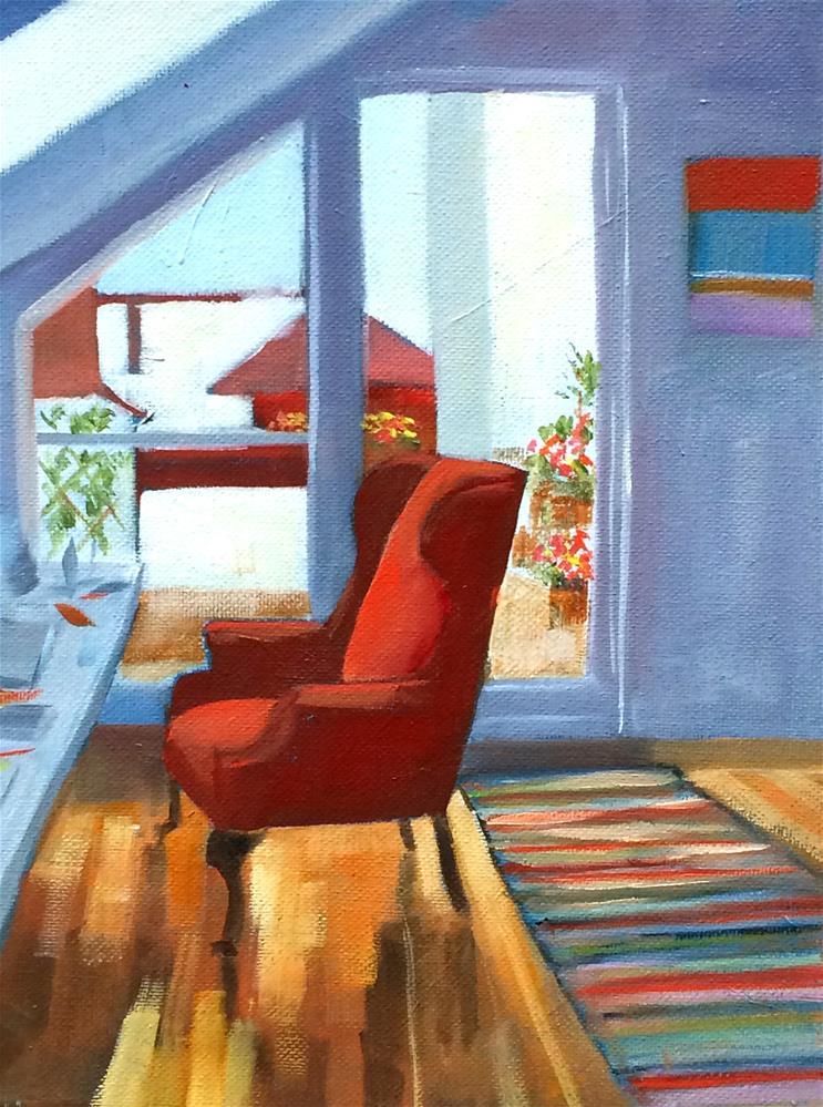 """""""Red Chair Salon"""" original fine art by Suzanne Gysin"""