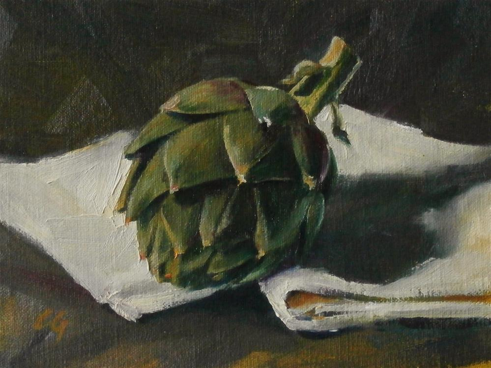 """Artichoke on White"" original fine art by Carla Gauthier"