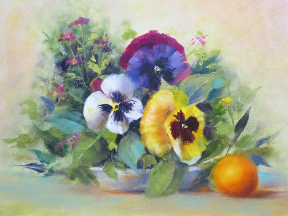 """Pansies and Orange"" original fine art by Barbara Wagner"