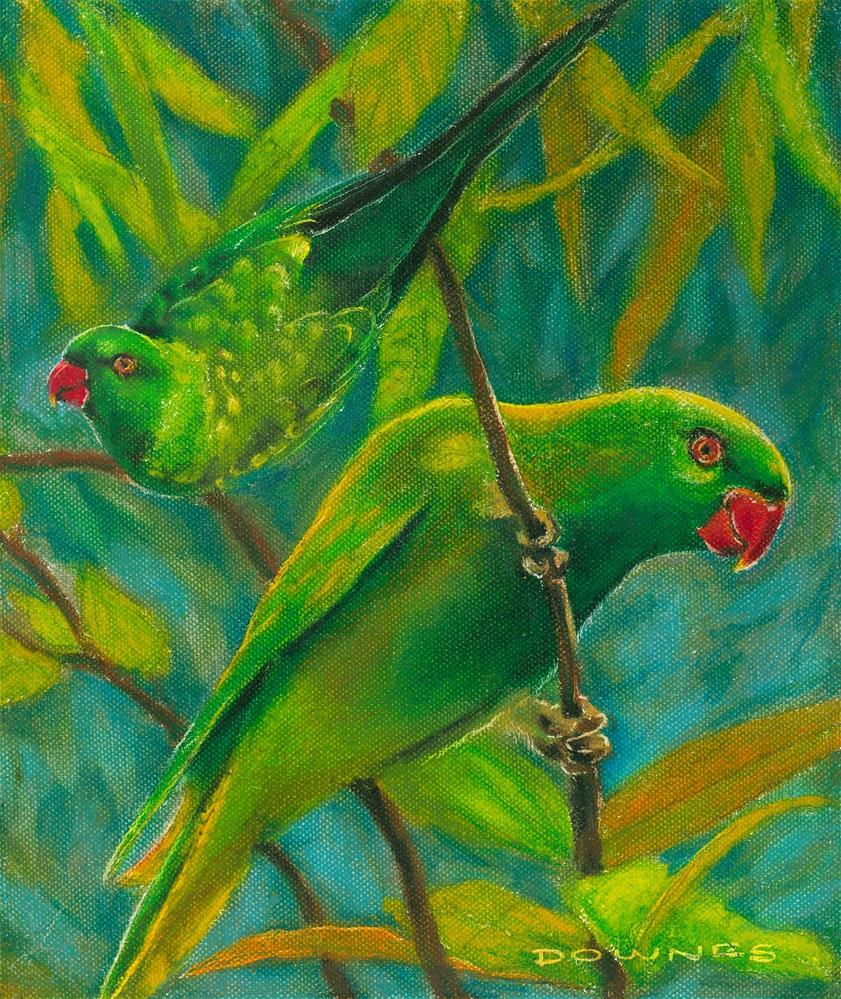 """329 SCALY-BREASTED LORIKEET (GREENIE)"" original fine art by Trevor Downes"