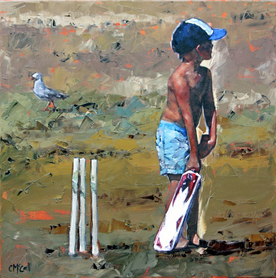"""Beach Cricketer"" original fine art by Claire McCall"