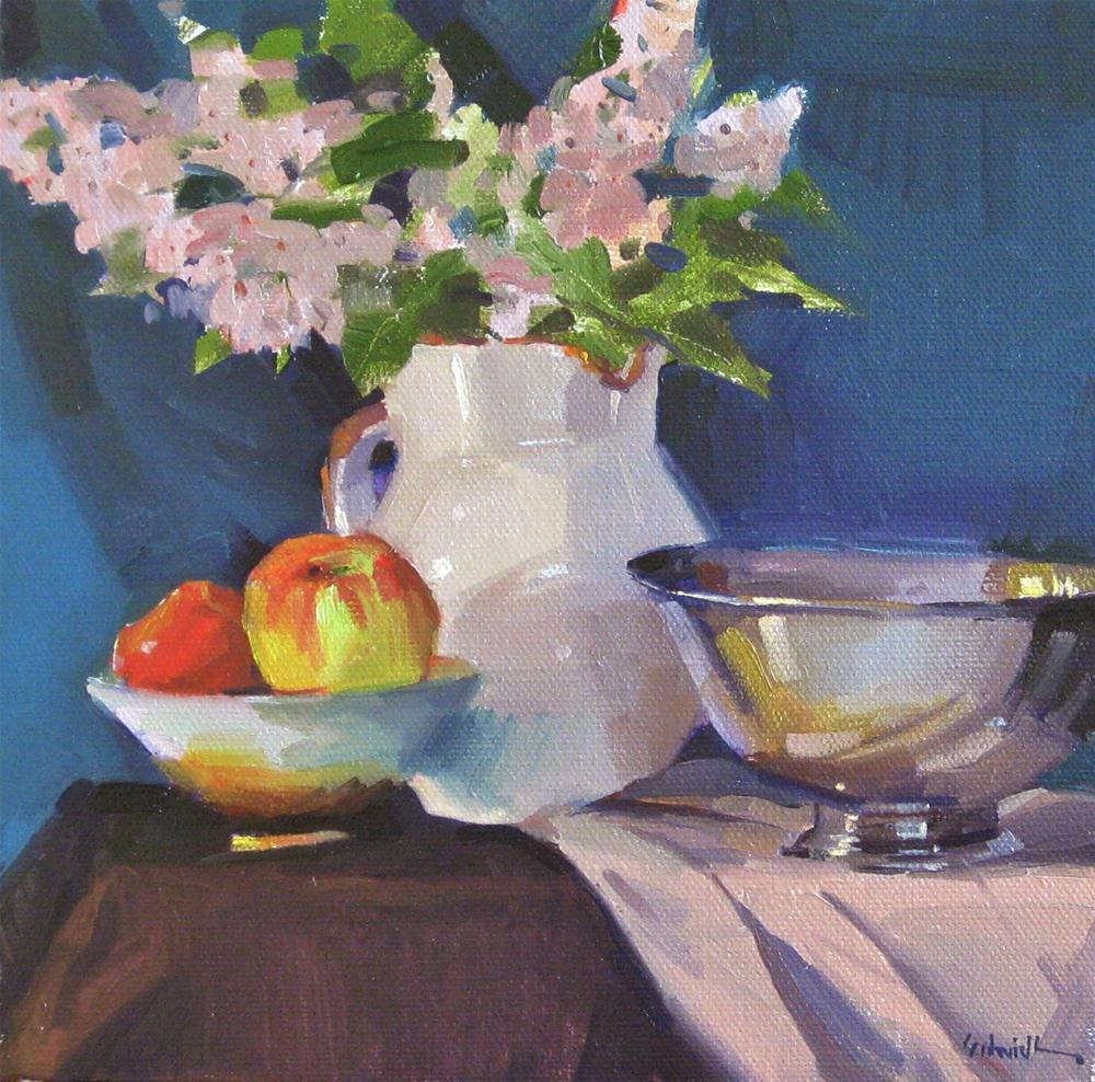 """White Pitcher of Lilacs floral flower still life daily painting one dollar auction"" original fine art by Sarah Sedwick"