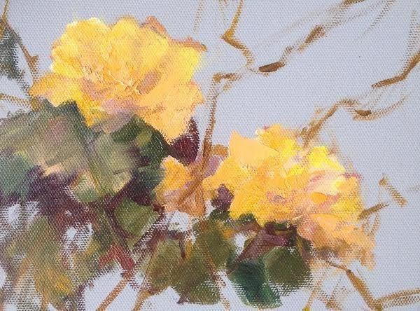 """Still Life Floral Painting, Flower Art Yellow Blossom 2 by Colorado Artist Susan Fowler"" original fine art by Susan Fowler"