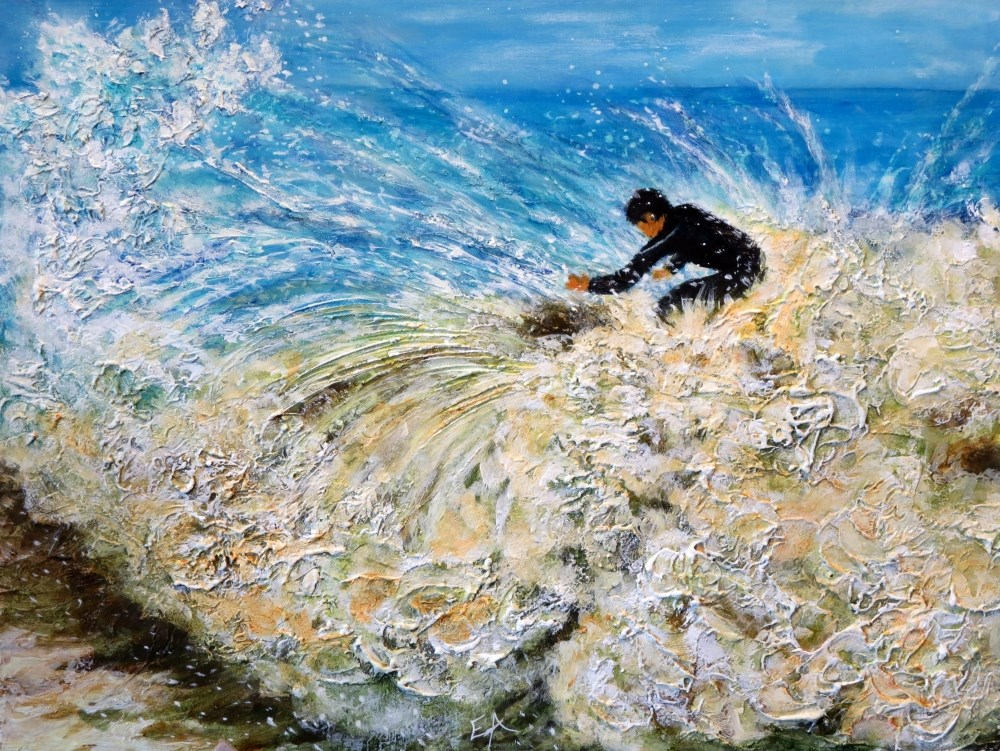 """Surfing"" original fine art by Elizabeth Elgin"