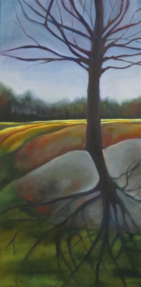 """Evening at the park"" original fine art by Kulli Maslova"
