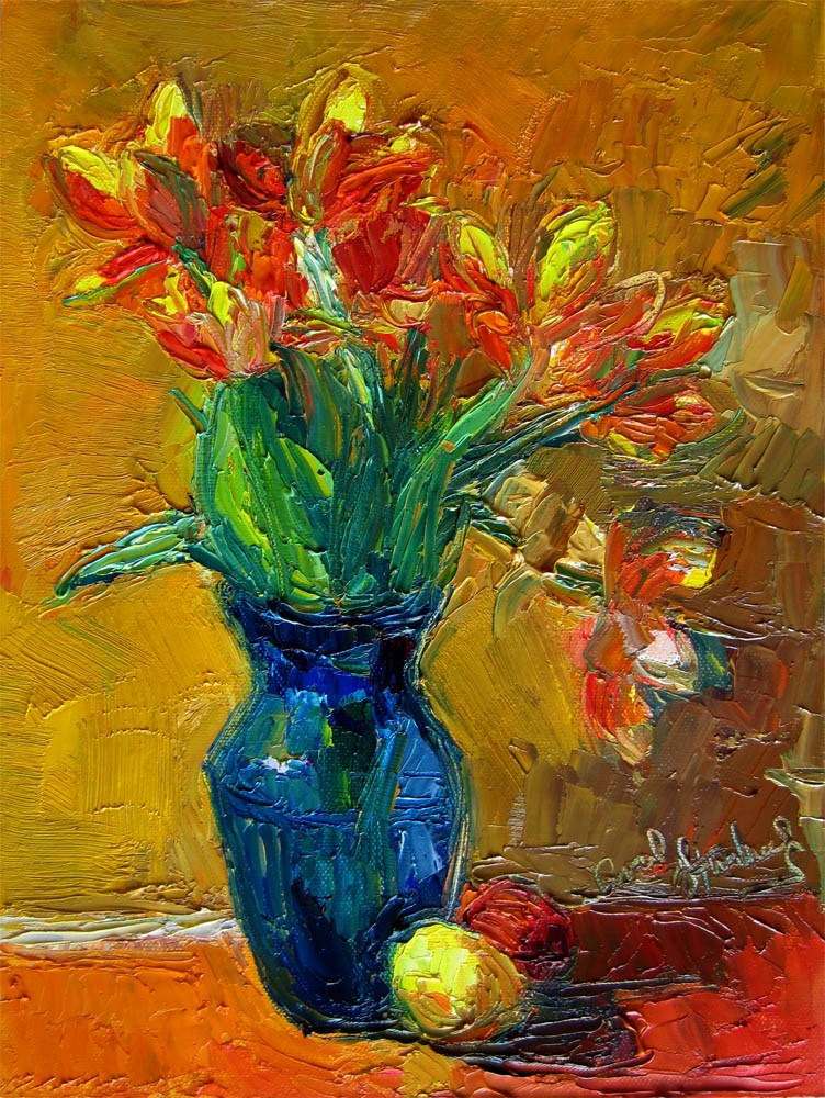 """Flame Tulips, Yellow Background"" original fine art by Carol Steinberg"